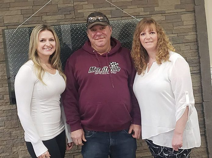 Melissa Stevens (left) joined by Merrittville Speedway owners Don and Lorraine Speice (center and right) as Stevens was named Race Director of Merrittville Speedway