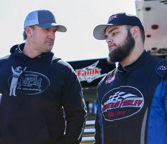 Michael Faulk (left) chats with Lee Faulk Racing and Development driver Jonathan Findley. (Adam Fenwick Photo)