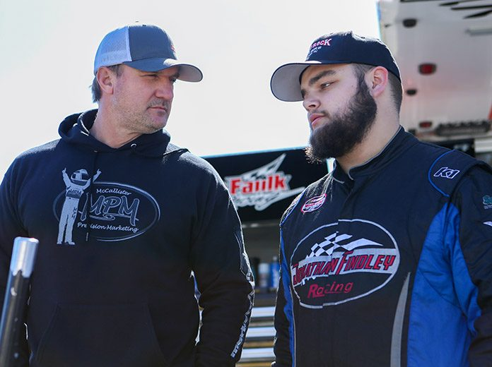 Michael Faulk (left) chats with Lee Faulk Racing and Development driver Jonathan Findley. (Adam Fenwick Photo)