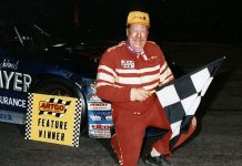Jim Weber in victory circle after winning an ARTGO late model series race at Illinois' Grundy County Speedway on April 25, 1992. (Bob Elman Photo)