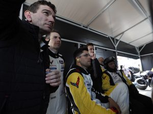 Corvette Racing's driver squad watches a monitor during the 2020 Rolex 24. (IMSA Photo)