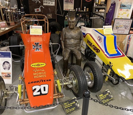 Two of the many cars on display inside the National Sprint Car Hall of Fame and Museum. (NSCHoF Photo)