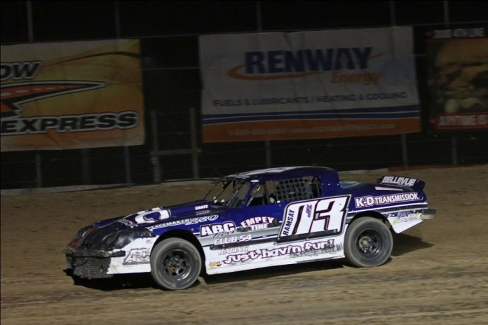 2019 Insta-Panels Duel on the Dirt Street Stock champion Justin Ramsay races to a win at Ohsweken Speedway. (Dale Calnan/Image Factor Media Photo)
