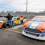 The No. 3 Ford of Willie Mullins sits beside the modified of Peyton Ferree during a recent test day at Dominion Raceway. (Dinah Mullins Photo)