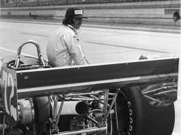 Bubby Jones, alone with his thoughts on one of the few practice days he got before qualifying for the 1977 Indianapolis 500. ((Greg Sharp photo)