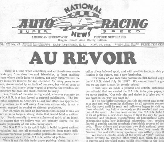 The front page of the Nov. 19, 1942 issue of National Auto Racing News, the predecessor of National Speed Sport News.