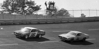 Mark Donohue (16), in one of Roger Penske's AMC Matadors, leads Dave Marcis at Atlanta Motor Speedway in 1972. (NSSN Archives Photo)