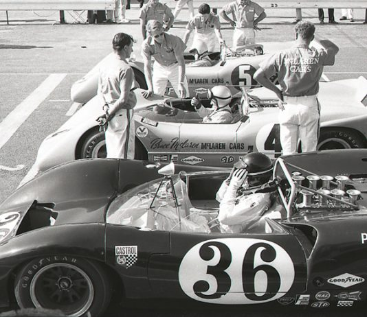 Drivers prepare to go racing prior to a Can-Am event. (NSSN Archives Photo)