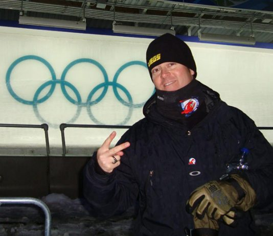 Jeg Coughlin Jr. trackside at the Vancouver Winter Games in 2010.