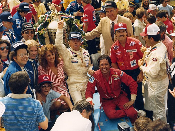 Gordon Johncock after one of his two Indianapolis 500 victories. (IMS Photo)
