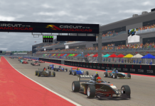 Philippe Denes leads the field during Saturday's Ricmotech Road to Indy Presented by Cooper Tires iRacing eSeries event at Circuit of the Americas.