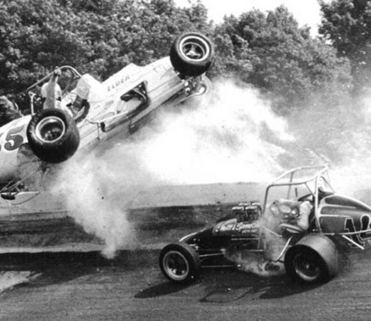 George Snider (55) sails through the air during a violent crash at Winchester Speedway in 1975.