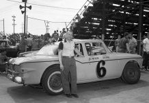 Winner of 29 feature races in 1960, Bill Van Allen and his Studebaker Lark No. 6 pose in the pits early in the season at Blue Island's Raceway Park. (Bud Norman Photo)