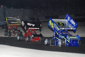 Winged sprint cars on asphalt are a popular form of racing in Florida. (David Sink Photo)