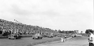 The first NASCAR strictly stock race was run June 19, 1949 at Charlotte (N.C.) Speedway, a three-quarter-mile dirt track. (NASCAR Photo)