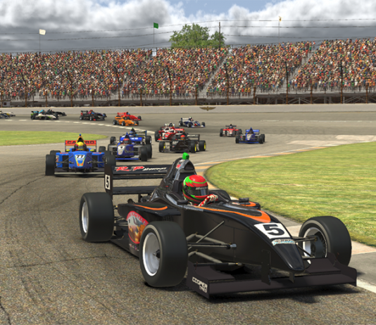 Phillippe Denes leads the Ricmotech Road to Indy Presented by Cooper Tires iRacing eSeries field on Saturday at virtual Indianapolis Motor Speedway.
