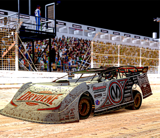 Corey Gordon raced to victory in Monday's World of Outlaws Morton Buildings Late Model iRacing Invitational at virtual Williams Grove Speedway. (JZi Racing Photos)