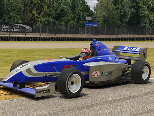 Braden Eves marched to victory in Saturday's Ricmotech Road to Indy Presented by Cooper Tires iRacing eSeries event at the virtual Mid-Ohio Sports Car Course.