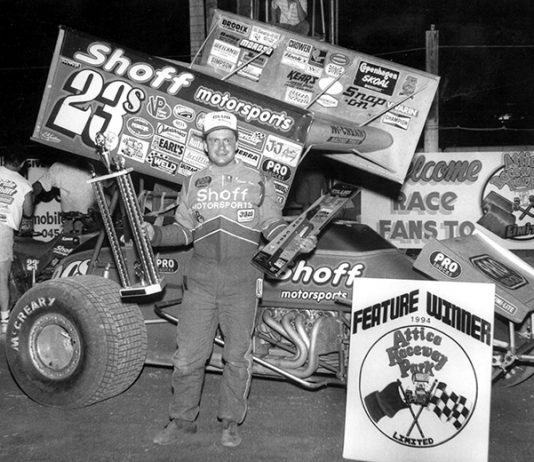 Frankie Kerr in victory lane at Attica Raceway Park in 1994. (NSSN Archives Photo)