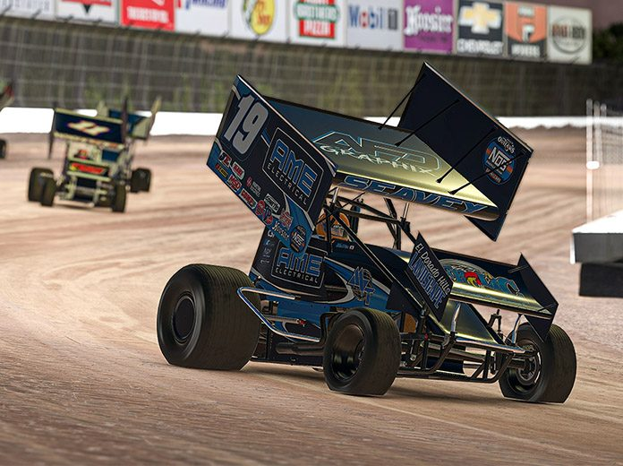 Logan Seavey lead every lap to win Sunday's World of Outlaws NOS Energy Drink Sprint Car iRacing Invitational event at virtual Eldora Speedway. (JZi Racing Photography)