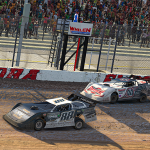 Trent Ivey (88) beats Corey Gordon to the finish to win Monday's World of Outlaws Morton Buildings Late Model iRacing Invitational at virtual Eldora Speedway. (Chris Owens Photo)