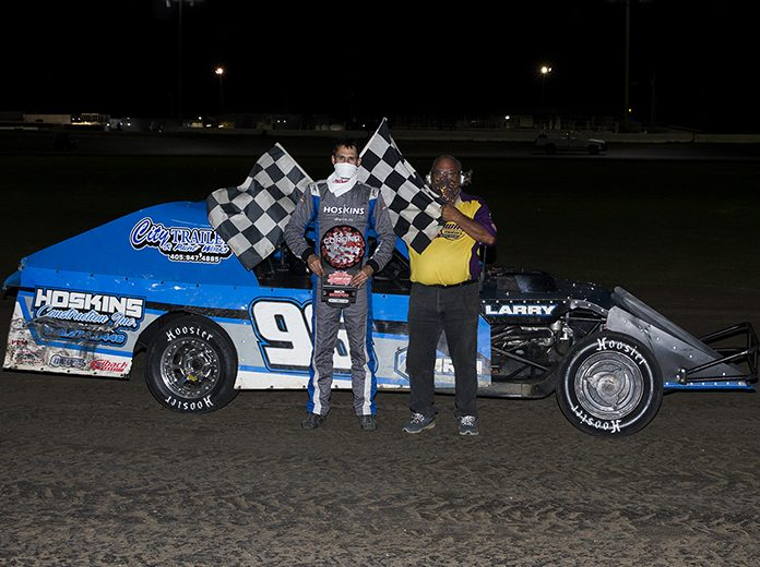R.C. Whitwell raced to victory in Friday's IMCA modified feature at Southern Oklahoma Speedway. (Michael Diers Photo)