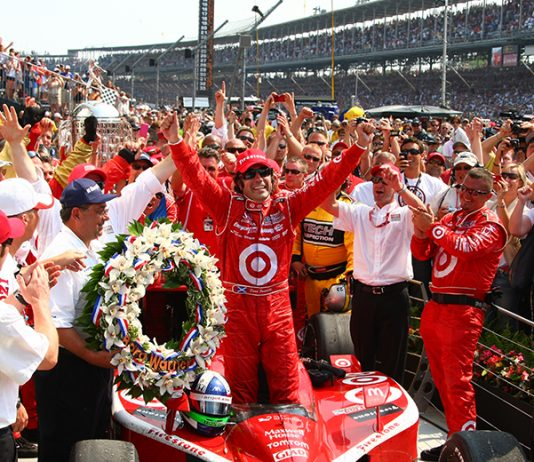 Dario Franchitti celebrates in victory lane after one of his three Indianapolis 500 triumphs. (IMS Photo)