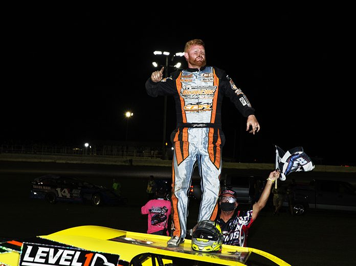 Tyler Stevens celebrates his victory on Saturday at Southern Oklahoma Speedway. (Michael Diers Photo)