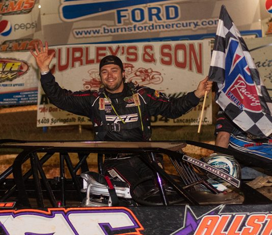 Brandon Overton, shown here in victory lane Friday at Lancaster Motor Speedway, won Saturday's Palmetto Invitational at Cherokee Speedway. (Blake Harris Photo)