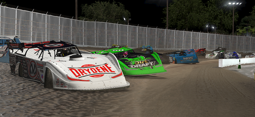 Corey Gordon races ahead of the pack during Monday's World of Outlaws Morton Buildings Late Model iRacing event at virtual Volusia Speedway Park. (Joe Grabianowski Photo)