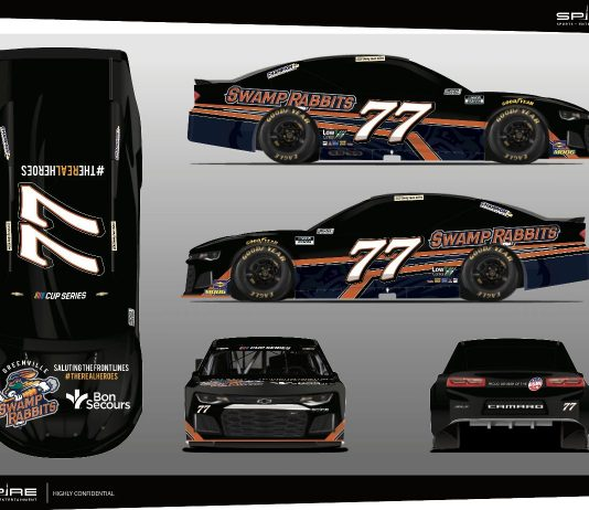 The Spire Motorsports No. 77 will fly the colors of the Greenville Swamp Rabbits and Bon Secours at Darlington Raceway.