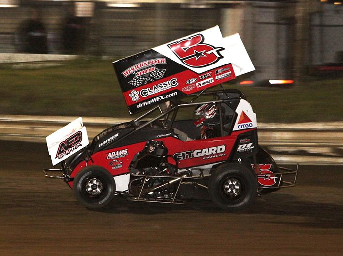 Ryan Timms scored a pair of victories with the Lucas Oil National Open Wheel 600 Series on Friday at Creek County Speedway. (Richard Bales Photo)