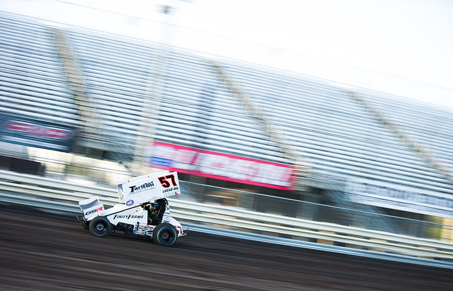 Kyle Larson on track during Friday's World of Outlaws NOS Energy Drink Sprint Car Series program at Knoxville Raceway. (Trent Gower Photo)