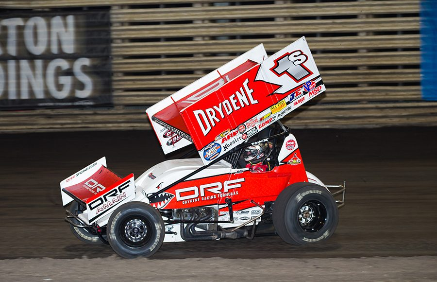 Logan Schuchart in action during Friday's World of Outlaws NOS Energy Drink Sprint Car Series program at Knoxville Raceway. (Trent Gower Photo)
