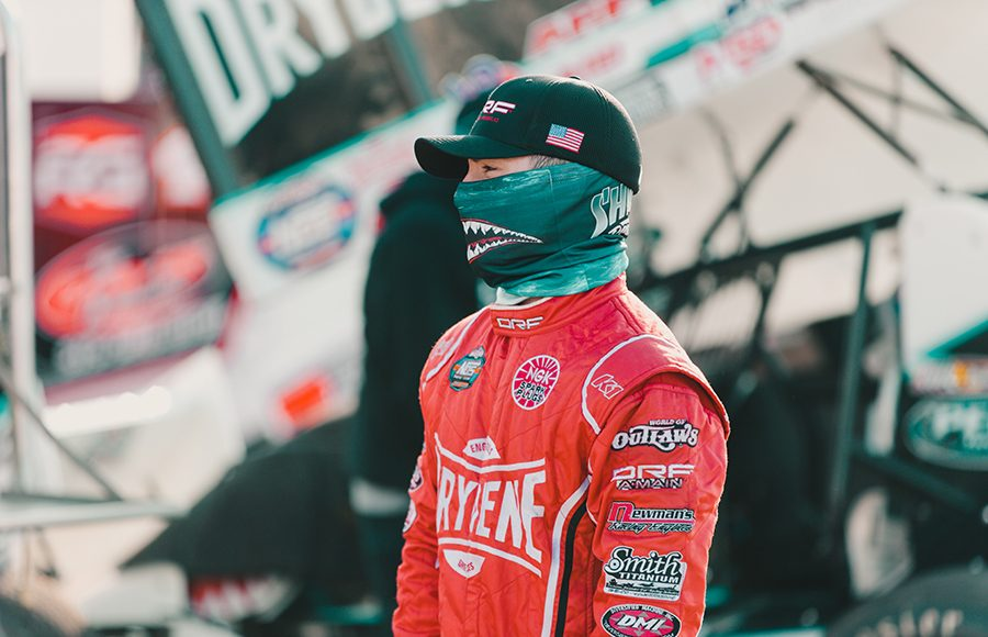 Drivers and crew were all required to wear face coverings in the pit area during Friday's World of Outlaws NOS Energy Drink Sprint Car Series event at Knoxville Raceway. (Trent Gower Photo)