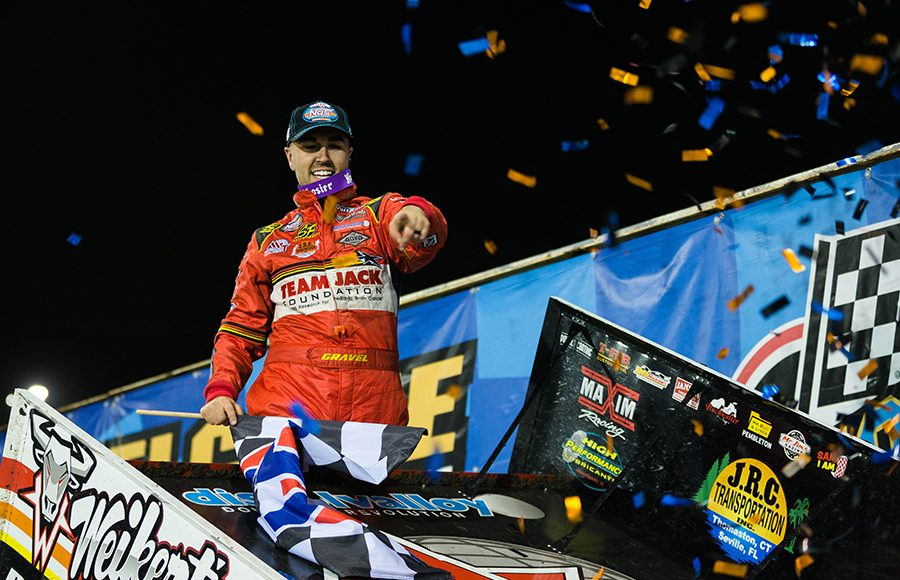 David Gravel celebrates after winning Friday's World of Outlaws NOS Energy Drink Sprint Car Series feature at Knoxville Raceway. (Trent Gower Photo)