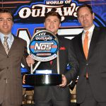 Alex Bergeron (center) claimed the 2019 iRacing World of Outlaws NOS Energy Drink Sprint Car World Championship title. (Cyndi Craft Photo)