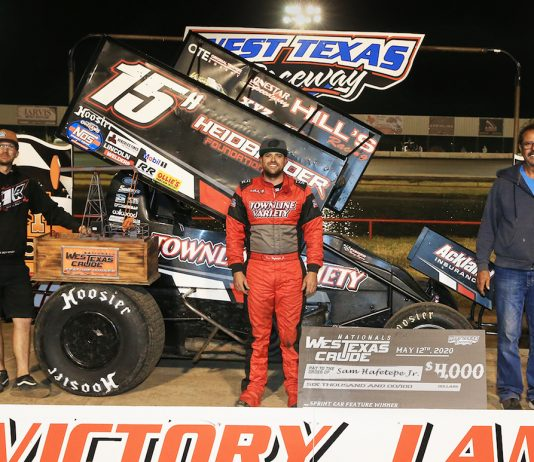 Sam Hafertepe Jr. in victory lane at West Texas Raceway. (Michael Diers photo)