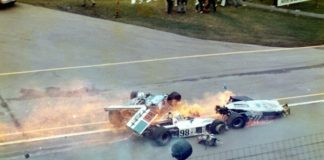 Salt Walther's car is struck by Mike Mosley's car during the early laps of the 1973 Indianapolis 500.