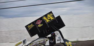 Ryan Robinson won Saturday's sprint car feature at Marysville Raceway Park. (Joe Shivak photo)