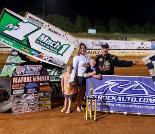 Mark Smith and family in victory lane at Southern Raceway. (USCS photo)