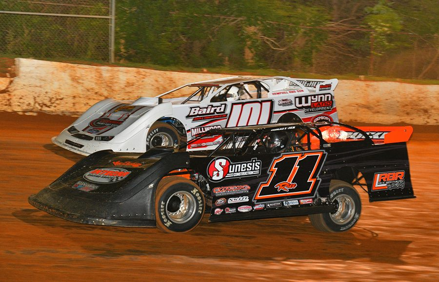 Josh Rice (11) races alongside Casey Roberts during Saturday's Spring Sizzler at 411 Motor Speedway. (Michael Moats Photo)