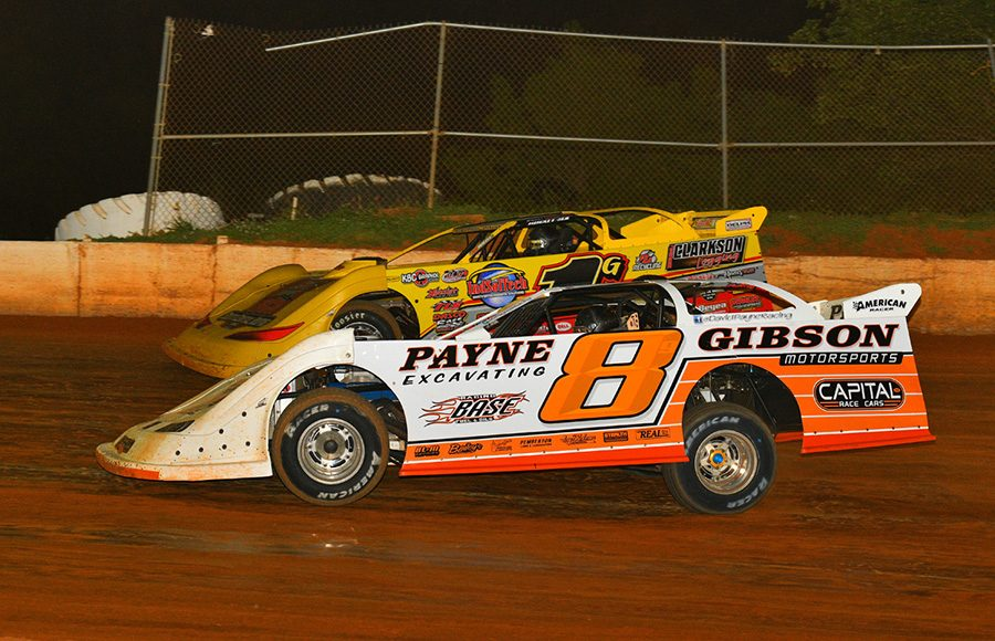 David Payne (8) battles alongside Devin Gilpin during Saturday's Spring Sizzler at 411 Motor Speedway. (Michael Moats Photo)