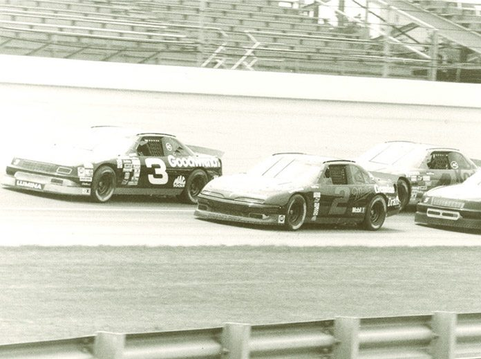 Rusty Wallace (2) and Dale Earnhardt (3) were among the drivers testing at Indianapolis Motor Speedway on June 22-23, 1992. (NSSN Archives Photo)