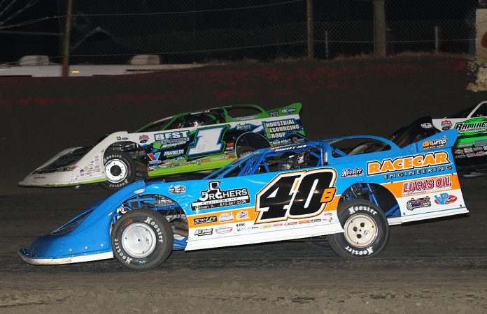 Kyle Bronson (40) and Tyler Erb, shown in February, finished one-two Wednesday at Golden Isles Speedway. (Mike Ruefer photo)