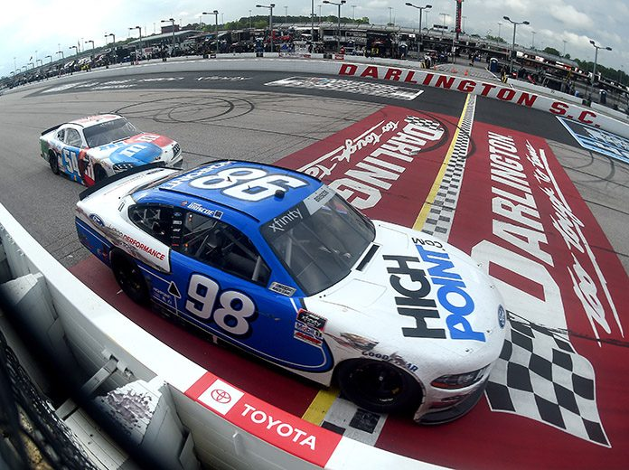 Chase Briscoe (98) beats Kyle Busch to the checkered flag to win Thursday's Toyota 200 at Darlington Raceway. (Jared C. Tilton/Getty Images Photo)