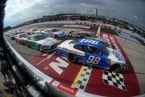 Chase Briscoe (98) leads the field during the final restart Thursday at Darlington Raceway. (Getty Images Photo)