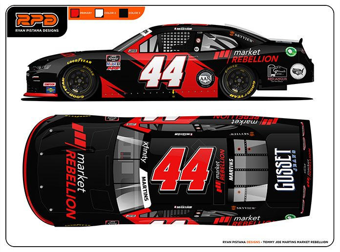 Market Rebellion will sponsor Tommy Joe Martins in the NASCAR Xfinity Series race at Charlotte Motor Speedway on Monday.