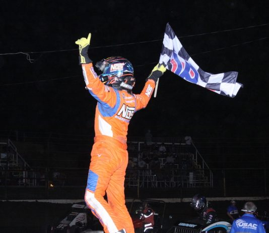 Tyler Courtney in victory lane at Port City Raceway. (Richard Bales photo)