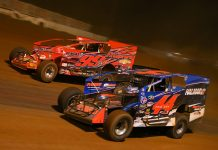 Stewart Friesen (44) makes the race winning pass on Larry Wight during Saturday's Short Track Super Series feature at Cherokee Speedway. (Adam Fenwick Photo)